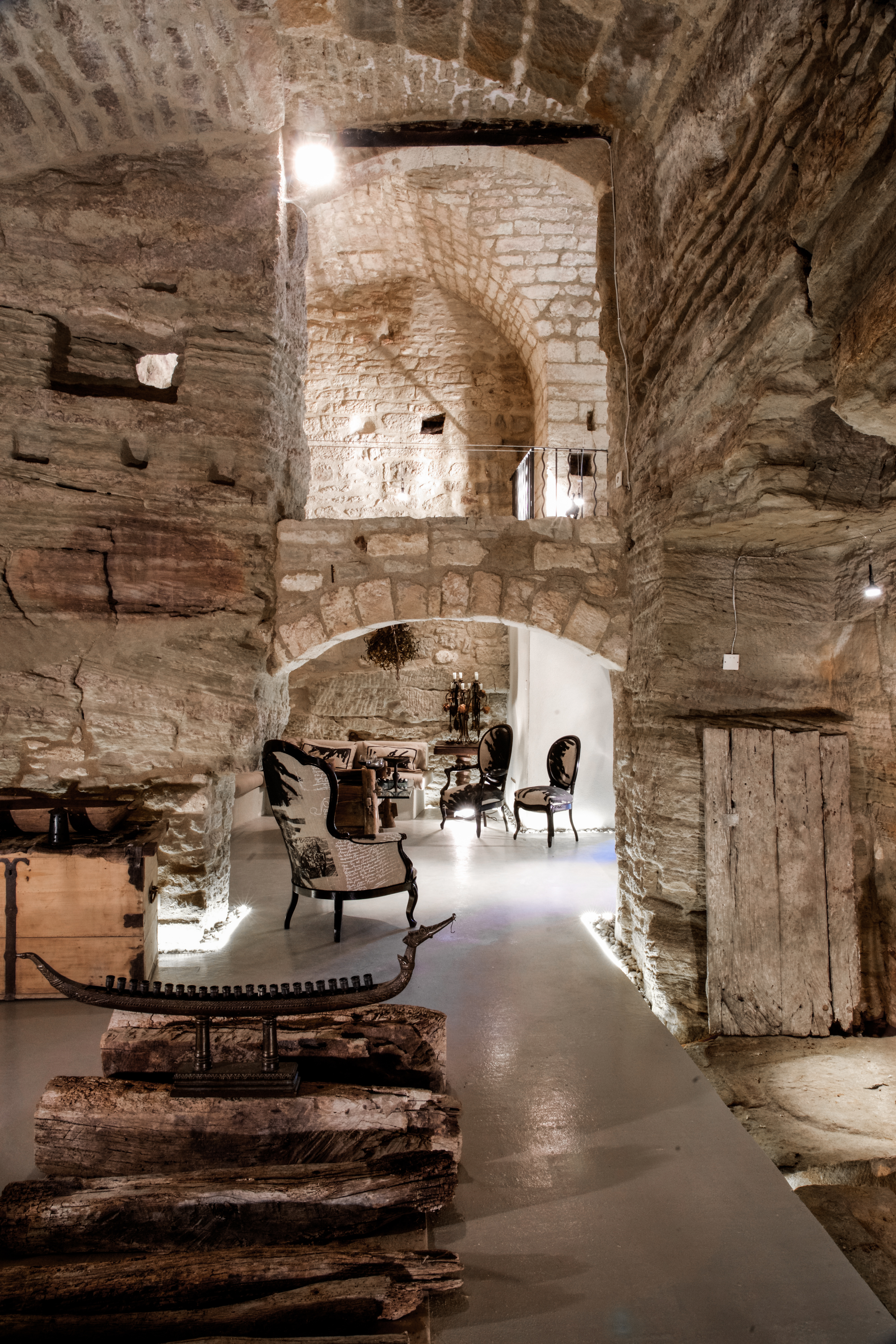 view from exibition space petrified wood beams in forground.jpg